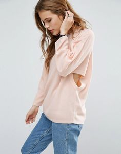 ASOS Sweater with Cut Out Side Detail - Pink