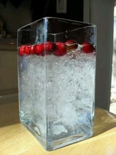 Crunched up plastic wrap in water..perfect for holiday center pieces