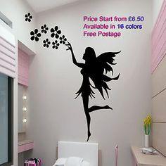 Fairy Flowers Stickers vinyl wallart decals mural girls room car, van, glass d1 £6.50
