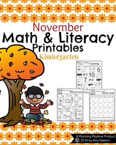 Kindergarten Math and Literacy Printables -. by Planning Playtime Kindergarten Math Worksheets, Math Literacy, Kindergarten Reading, Seasons Kindergarten, Kindergarten Classroom, Literacy Centers, Maths, Thanksgiving Worksheets, Thanksgiving Writing