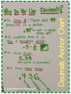 Decimal Anchor Chart: Awesome for helping students begin to think about decimals and what they are! Make a chart like this for introducing decimals to your students.  Great idea to see what they come up with!