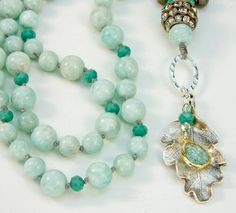 long necklace - robins egg necklace - amazonite gemstones - hand knotted - blue necklace - silver  necklace - Boho chic - Bohemian necklace on Etsy, $72.00