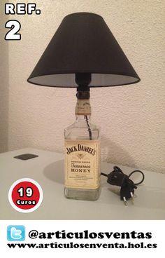 Lámparas Jack Daniels. Fabricación casera y muy cuidada. #Jack #Daniels #Honey #JackDanielsHoney #Lampara
