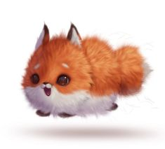 Baby Animal Drawings, Cute Animal Drawings Kawaii, Cute Cartoon Animals, Anime Animals, Cute Drawings, Baby Animals Super Cute, Cute Little Animals, Cute Fantasy Creatures, Cute Fox