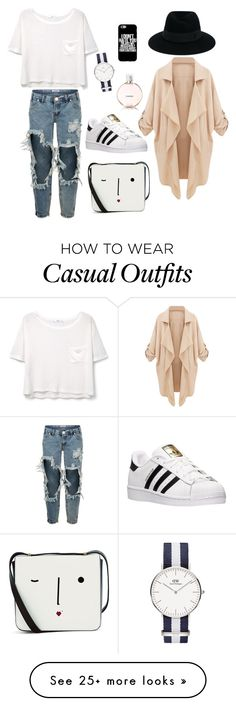 """Casual Wearing"" by dindaikhtiar on Polyvore featuring MANGO, One Teaspoon, adidas, Lulu Guinness, Chanel and Maison Michel"