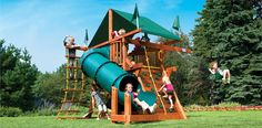 Playset Option #2 - Roughly $2,200 installed.  Only one sling swing and tire swing under fort - but small footprint which is good for our yard.