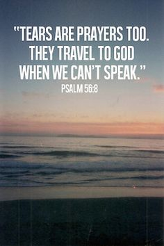 spiritualinspiration: You keep track of all my sorrows. You have collected all my tears in your bottle. You have recorded each one in your book (Psalm 56:8, NLT.) Do you know how important you are to God? He cares so much about every detail of your life. He cares about your thoughts, feelings and emotions. In fact, what you are going through is so important to Him that He records every sorrow and collects every tear you've shed. Because he loves you.
