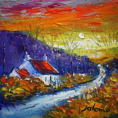 Sunset, Dunrostan, Knapdale by Jolomo - John Lowrie Morrison Great Paintings, Small Paintings, Watercolor Paintings, Art Is Dead, Pallet Painting, Knife Painting, Southwestern Art, Cottage Art, Acrylic Painting Techniques