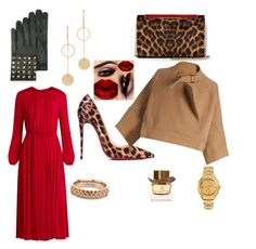 """""""I love Red and cheetah 👠💄💋"""" by yummycaramel on Polyvore featuring Christian Louboutin, Valentino, Chloé, Vitaly, Cloverpost and Burberry"""