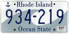 This is the official license plate for the state of Rhode Island as it has been officially adopted by the state legislature. Also known as a vehicle registration plate, it is used to identify the car and owner of a motor vehicle or trailer in the state.