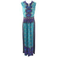 1970s Mr. Dino Blue and Purple Silk Jersey Knit Maxi Dress