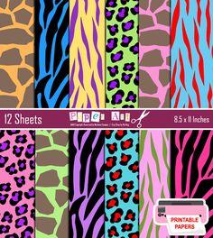 PRINTABLE-Fun Colors Animal Print Backgrounds (Zebra, Tiger, Leopard, Giraffe) Animal Print Paper, Digital Paper Set, Crazy Colors. $5.50, via Etsy.