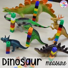 Dinosaur Themed Activities & Centers for Little Learners - Pocket of Preschool Dinosaur number measure plus tons of dinosaur themed activities & centers your preschool, pre-k, and kindergarten students will love! Dinosaur Classroom, Dinosaur Theme Preschool, Preschool Themes, Preschool Classroom, Dinosaur Dinosaur, Dinosaur Crafts For Preschoolers, Preschool Number Activities, Art Center Preschool, Letter S Activities