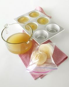Instant Stock Freeze homemade or leftover store bought stock in 1-cup portions, it's easy to know how much to thaw for a recipe. Ladle it into 1-cup muffin tins and place them in the freezer. Pop the frozen portions out and store in freezer bags and label.
