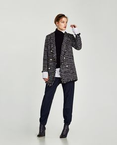 ZARA - SALE - LONG TWEED JACKET WITH PEARL BEADS