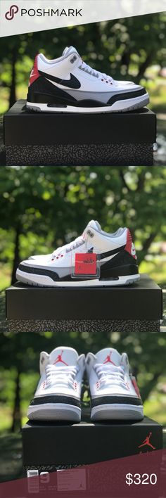 """Air Jordan 3 Retro Tinker To celebrate the 30th anniversary of the Air Jordan 3, Jordan Brand brought to life legendary designer Tinker Hatfield's original sketch of the shoe. The Air Jordan 3 """"Tinker Hatfield"""" adds the Nike Swoosh on each side panel of the sneaker.   Shoes are brand new. Not worn.  Come with box, hang tag and carboard shoe trees.  Check pictures for condition.  SOLD AS-AS. Please ask any questions before bidding or purchasing as no returns, refunds, exchanges or chargebacks…"""