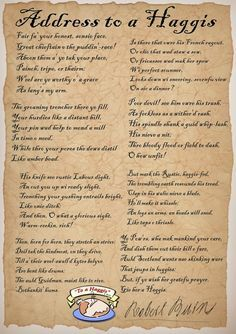"""""""Address to a Haggis"""" (Ready to print and read for Burns Supper): Rooftop Post Burns Night Decorations, Scottish Quotes, Scottish Gaelic, Scottish Thistle, Scottish Highlands, Robbie Burns Night, Burns Night Celebration, Burns Supper, Robert Burns"""