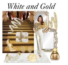 """""""White and Gold"""" by colonae ❤ liked on Polyvore featuring Urban Decay, Matta, Jenny Packham, Kerr®, Steve Madden, David Yurman, Miriam Haskell, Christian Dior and Cynthia Rowley"""