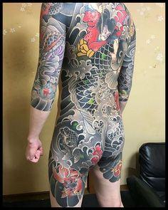 Love classic tattoo by 👹 Japanese Legs, Japanese Tattoos For Men, Traditional Japanese Tattoos, Japanese Tattoo Art, Japanese Sleeve Tattoos, Japanese Dragon, Back Tattoos For Guys, Full Back Tattoos, Full Body Tattoo