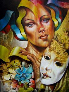 carlos queiroz art - Google Search Mardi Gras, Masks Art, Artist At Work, Art Google, Masquerade, Psychedelic, Modern Art, Abstract Art, Illustration Art