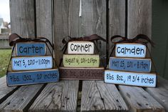 Personalized Name Date kids baby girl boy birth announcement Wood Stacker block set wedding family nursery kids room  gift. $19.95, via Etsy.