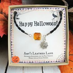 Halloween Jewelry-Halloween Charm Bracelet-Halloween Gift for Teachers-Halloween Party Favors-Halloween Costume Accessory-Orange and Black $12.99 (USD)
