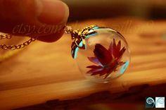 LOTUS Flower in Glass Bubble pendant GLOW in the DARK-04