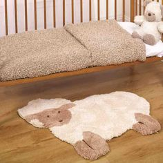 This Kiddy Play Nursery Lamb Rug has a soft fleecy design made from polyester. A thick pile as soft as your kids skin, children will surely love to have this in their room. Boho Living Room, Living Room Carpet, Bedroom Carpet, Wall Carpet, Baby Room Sheep, Cute Lamb, Childrens Rugs, Nursery Rugs, Beige Nursery