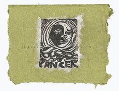 Cancer card, lino print on handmade paper by Jennifer Kunin www.etsy.com/shop/JenniferKuninStudio