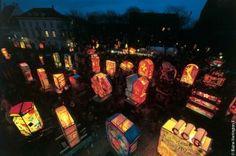 The lantern display at Munsterplatz. Basel, Ash Wednesday, Wednesday Morning, Thursday, Carnival 2015, Pajama Party, Mardi Gras, Switzerland, Lanterns