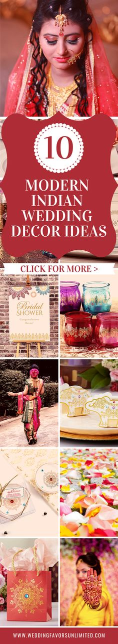 "Honor your partner's Indian heritage with a modern chic twist and decorate the wedding of your dreams! Read more in our latest blog post: ""10 Modern Indian Wedding Decoration Ideas"" Modern Wedding Favors, Indian Wedding Favors, Indian Wedding Planner, Indian Wedding Decorations, Wedding Mandap, Wedding Stage, Hotel Wedding, Burgundy Wedding, Red Wedding"