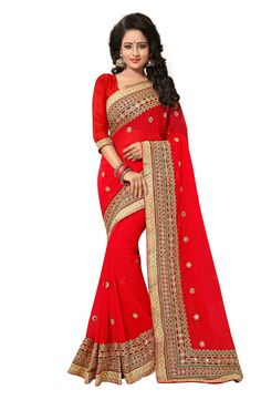 Red Colour Georgette Designer Zari Embroidery and Mirror Work Saree