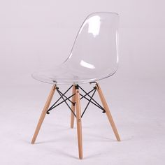 LANSKAYA 4 Pieces of Set Acrylic Transparent Plastic Chair Cafe Leisure Modern Wood-country-furniture Colored Restaurant Stoel