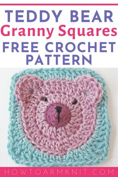 Crochet Granny Squares 99750 If you're looking for a unique crochet granny square pattern, this teddy bear granny square is perfect. A great idea for a baby afghan or childs blanket and can be made with any color for boys and girls! Crochet Baby Blanket Free Pattern, Granny Square Crochet Pattern, Afghan Crochet Patterns, Crochet Blocks, Baby Afghan Crochet, Granny Square Projects, Granny Square Häkelanleitung, Baby Granny Square Blanket, Granny Granny