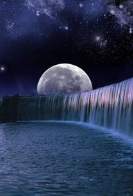 Beautiful moon,sky,WATERFALL:)!!!!!!