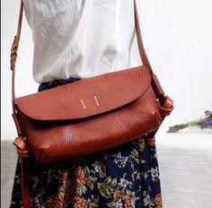25605923f49 handmade vintage Messenger leather Bag small w Faninabags na DaWanda.com  Small Leather Bag,