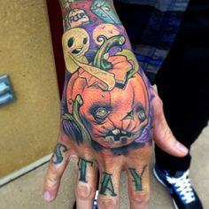 Image result for jack and sally pumpkin hand tattoos