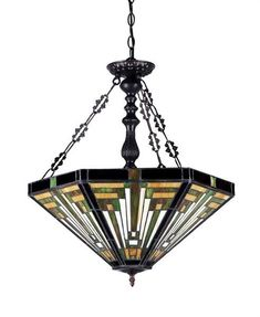 Chloe 'INNES' Tiffany-style Mission 3 Light Inverted Ceiling Pendant Fixture 22' Shade