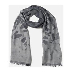 McQ Alexander McQueen Women's Swallow Scarf - Navy/Light Grey (1.641.180 IDR) ❤ liked on Polyvore featuring accessories, scarves, navy shawl, navy scarves, navy blue scarves and navy blue shawl