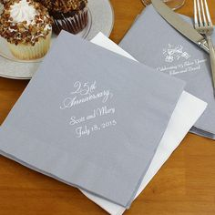 6 x 6 luncheon napkins for 25th wedding anniversary parties are made of durable, 3-ply paper and custom printed with up to 4 lines of custom print.