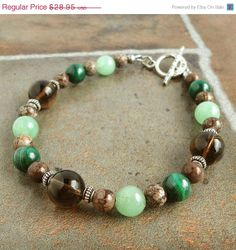 Black Friday SALE Mens Bead Bracelet Malachite by mamisgemstudio, $23.16
