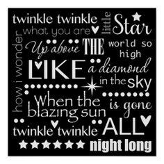Twinkle Twinkle Little Star Word Art Posters