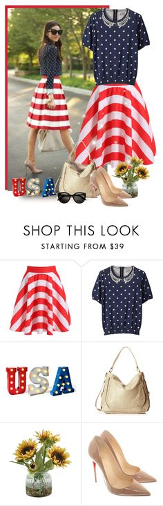 """USA outfit"" by priscilla12 ❤ liked on Polyvore featuring Muveil, Elliott Lucca, Home Decorators Collection, Christian Louboutin, skirt, christianlouboutin and redwhiteblue"