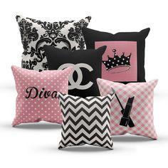 Pink Diva Princess Designer Inspired Chanel Pillows, Set of 6 Pillows