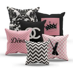 Pink Diva Princess Designer Inspired Chanel Pillows, Set of 6 Pillows