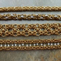 Byzantine Chainmaille Weave, staring at the top with a simple single color, then a thicker gauge in 2 colors, and then WOW, 2 other great variations!