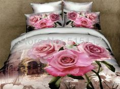 Pink Rose and Old Building Printed Cotton Bedding Sets/Duvet Covers King Size Bedding Sets, Cheap Bedding Sets, Cotton Bedding Sets, Luxury Bedding Sets, Affordable Bedding, Comforter Sets, Bed Sets, Bed Linen Sets, Floral Bedding