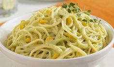 Spaghetti en salsa de poblano