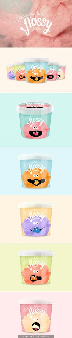 [ fun + color palette + cohesive + design ] FLOSSY - Flavoured Candy Floss is just too cute