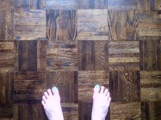 Refinished walnut stained parquet
